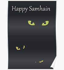 Black Kitty-card Happy samhain Poster