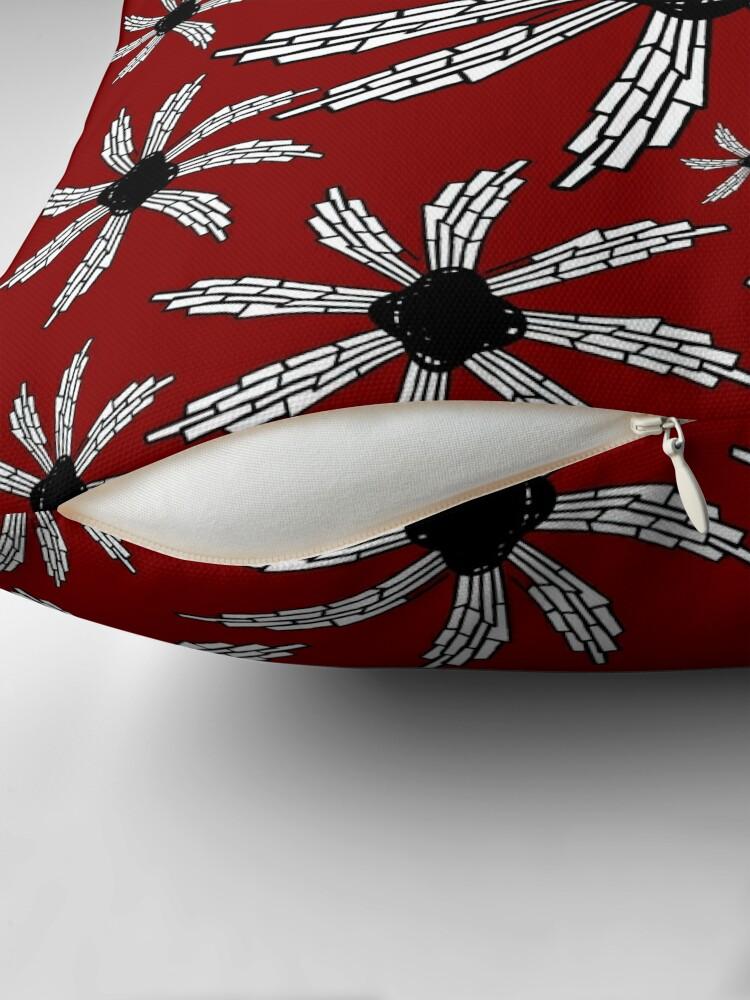 Alternate view of Red wine spiral wind catcher pattern Throw Pillow
