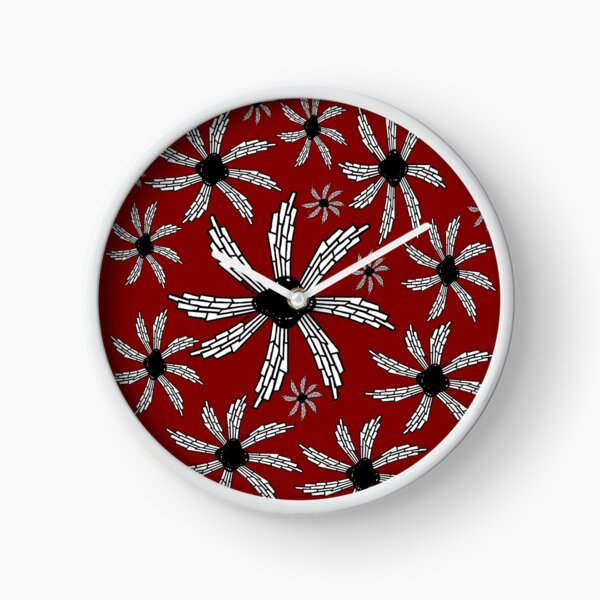 Red wine spiral wind catcher pattern Clock