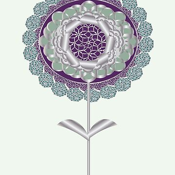 Plum Mint Deco Daisy Flower by CecelyBloom