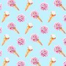 Pfingstrosen und Eistüte Muster # 1 von BekkaCampbell