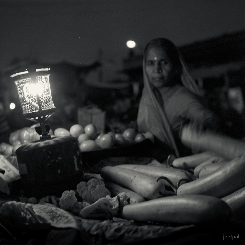 Vegetable Vendor, Jodhpur, VegetableMarket, Rajasthan, India, Night, gaslamp, moon by jeetpal