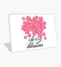 Handlettered Calligraphy Cherry Blossoms with Flowers Laptop Skin