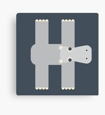 Letter H // Animal Alphabet // Hippo Monogram Canvas Print