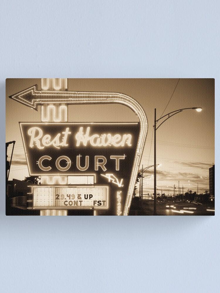 Alternate view of Rest Haven Court Motel. (Alan Copson © 2007) Canvas Print