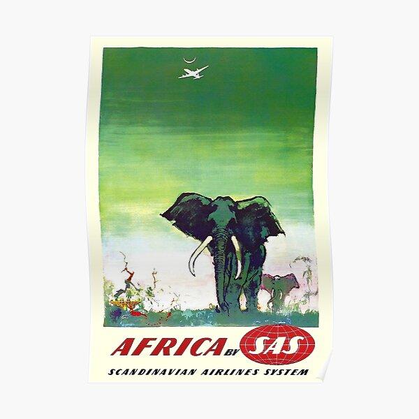 NORTH AMERICA SCANDINAVIAN AIRLINES buffalo VINTAGE travel poster 24X36 rare