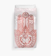 Rose Gold Hamsa Duvet Cover