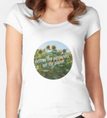 Destroy the Patriarchy, Not the Planet! Women's Fitted Scoop T-Shirt