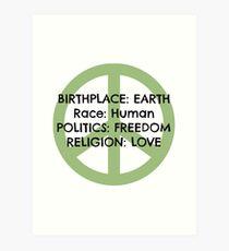 Birthplace: Earth Art Print