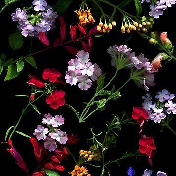 Garden Potpourri Dark Floral by LindasPhotoArt