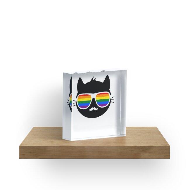 Cool Cat Love Peace LGBTQ Gay Rainbow Flag  by cjhimself