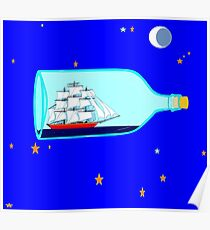 A Ship in a bottle, blue night sky with stars and moon Poster