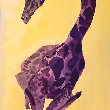 Peaceful protector -  Purple Giraffe in a Yellow Field by EricaBottger