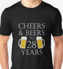 Cheers and Beers to 28 Years – 28th Birthday Gift T-Shirt