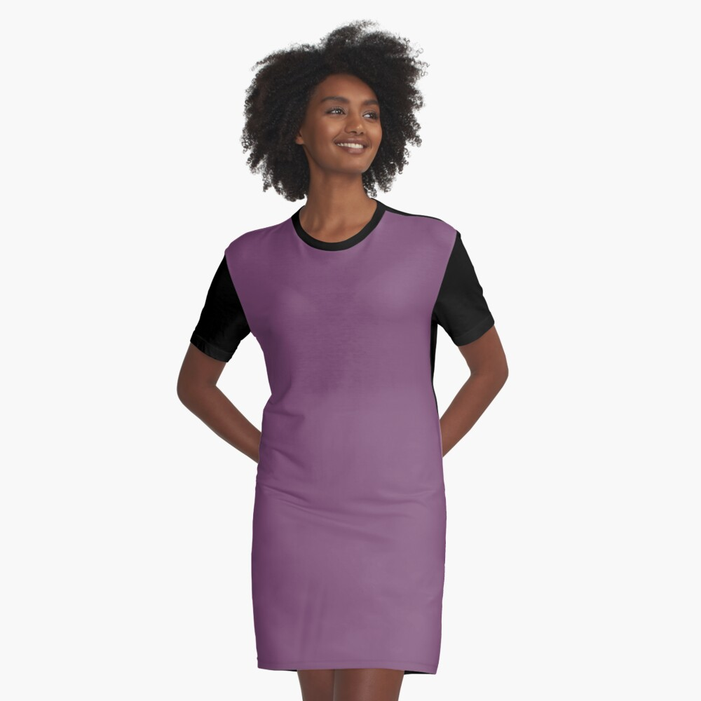 Precious Peacock Feathers Plum Purple Solid Color Graphic T-Shirt Dress Front