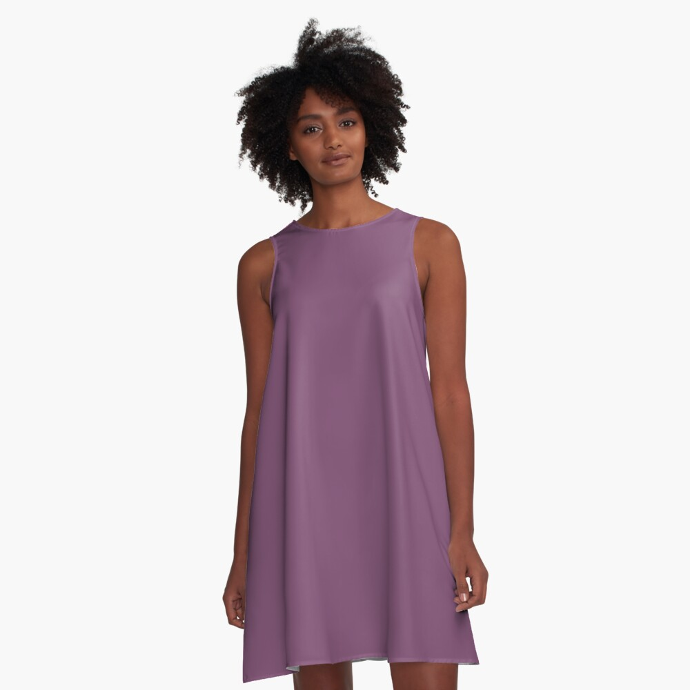Precious Peacock Feathers Plum Purple Solid Color A-Line Dress Front