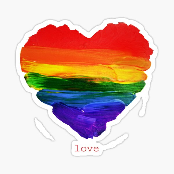 Rainbow Brush Strokes Gay Love Painting // Lesbian and Gay Pride Sticker