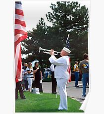 "Sailor Playing ""Taps"" for Memorial Day Ceremony Poster"