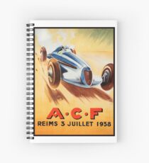 1938 ACF Grand Prix Reims France Automobile Race Spiral Notebook