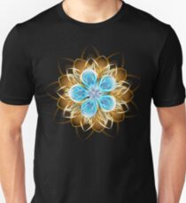 Abstract turquoise golden flower Unisex T-Shirt