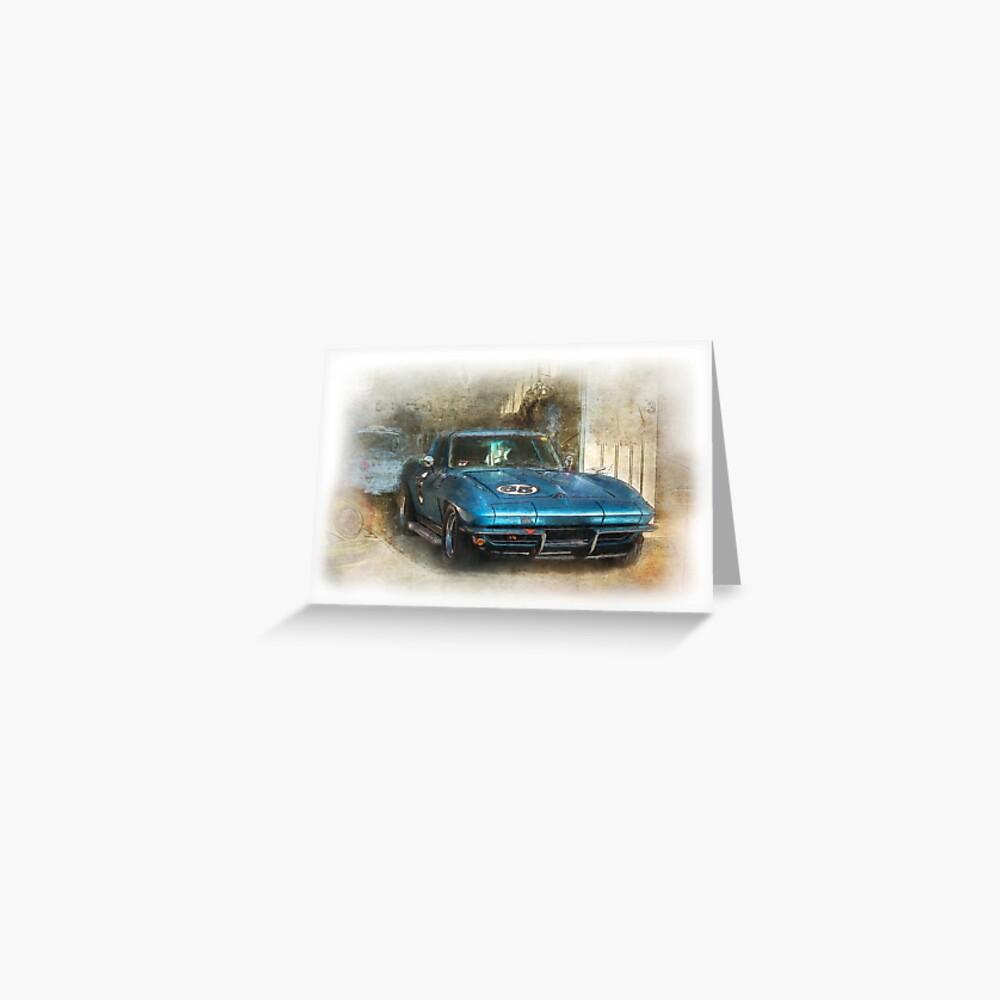 Blue Corvette Greeting Card