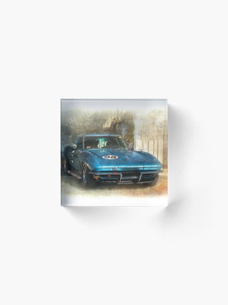 Alternate view of Blue Corvette Acrylic Block