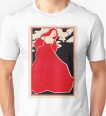 Lady in red with falcon 102 T-Shirt