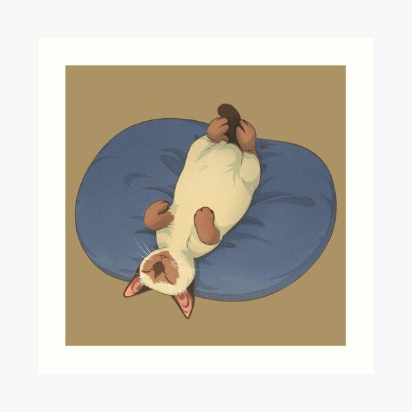 Sleeping Cat Siamese Brown Art Print