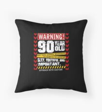 Funny 90 Year Old Approach With Caution Joke Gift Floor Pillow