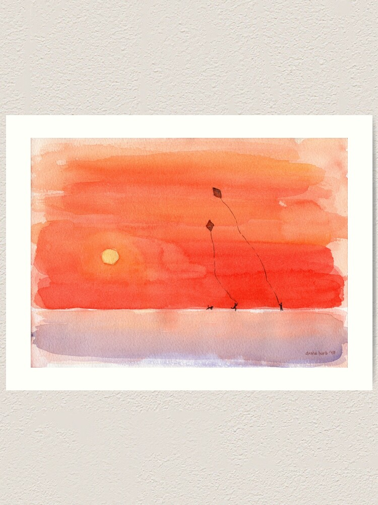 Red Sunset And Kites Simple Watercolor Painting Art Print