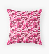 camo pink bape Throw Pillow