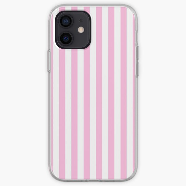 Pink and White Vertical Stripe iPhone Soft Case