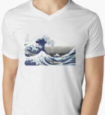 Great Wave, Hokusai 葛飾北斎の神奈川沖浪 Men's V-Neck T-Shirt