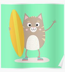 Summer Cat Surfing Rqucb Poster
