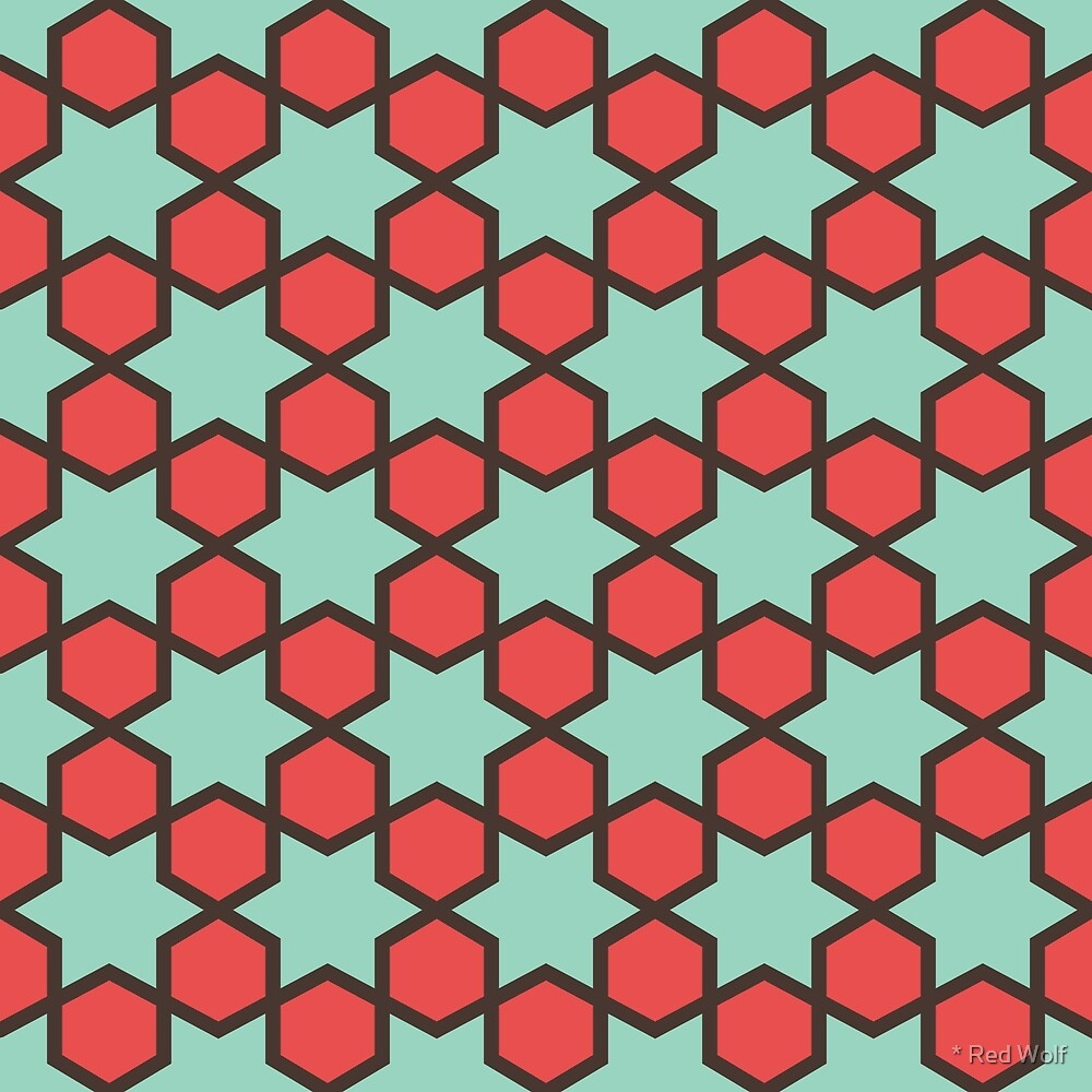 Geometric Pattern: Star Hexagon: Green/Red by * Red Wolf