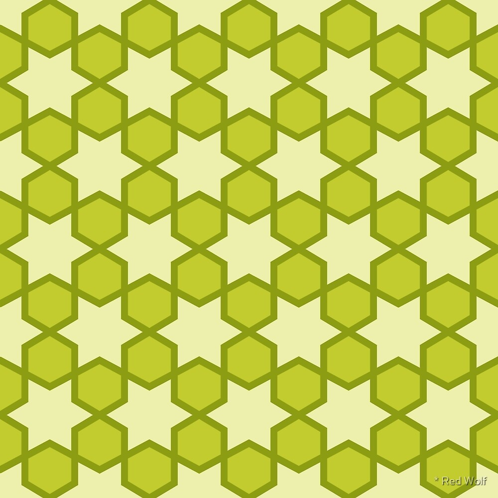 Geometric Pattern: Star Hexagon: Green by * Red Wolf
