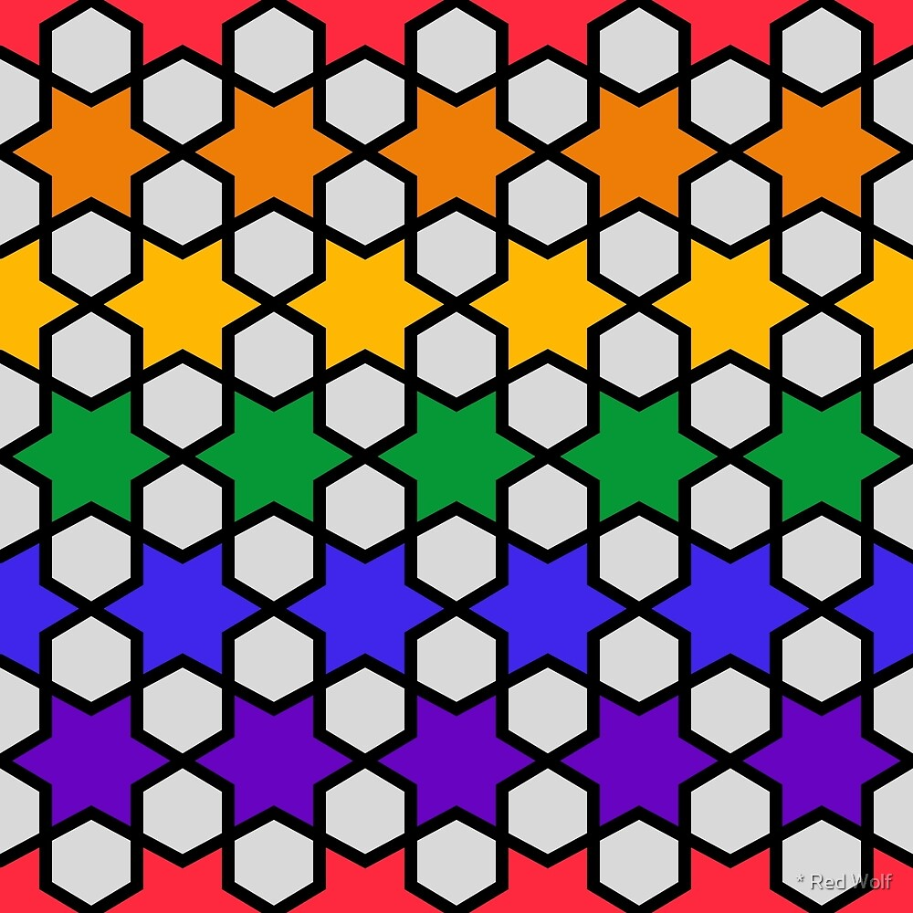 Geometric Pattern: Star Hexagon: Rainbow by * Red Wolf