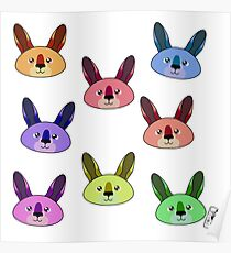 Rainbow kangaroos pattern Poster