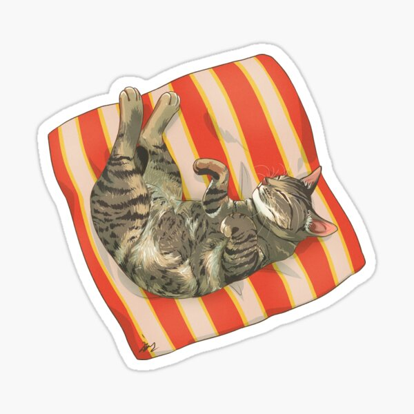 Sleeping Cat Brown Grey Tabby Sticker