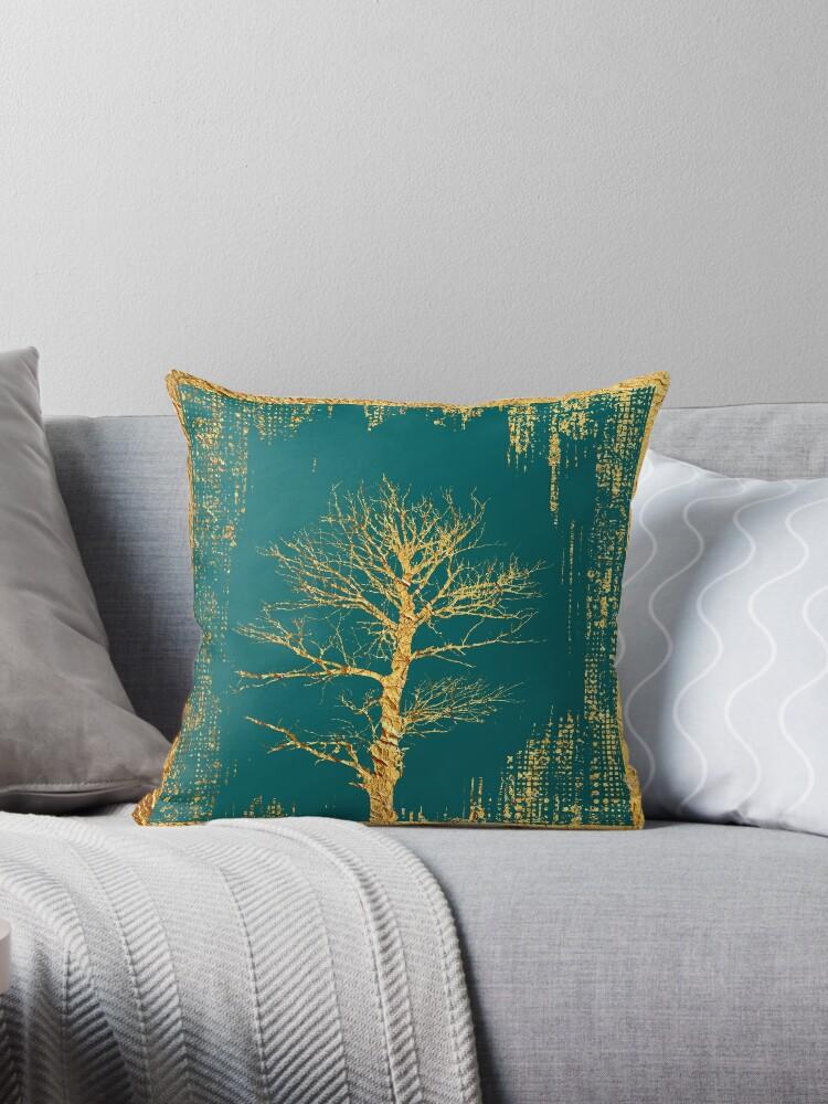 Goldbaum auf Teal von k9printart