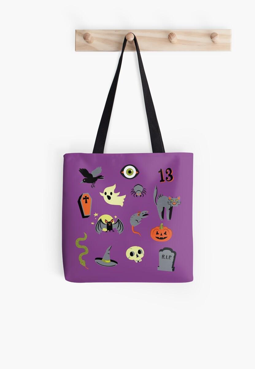 Purple Halloween trick or treat tote by Elizabeth Levesque