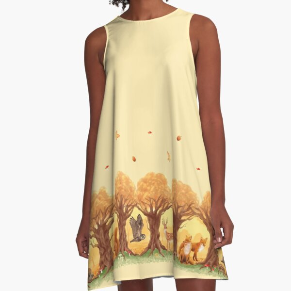 Sunny Forest Animals A-Line Dress
