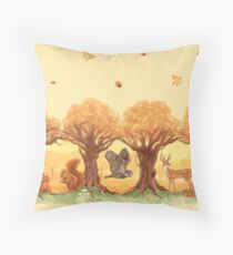 Sunny Forest Animals Throw Pillow
