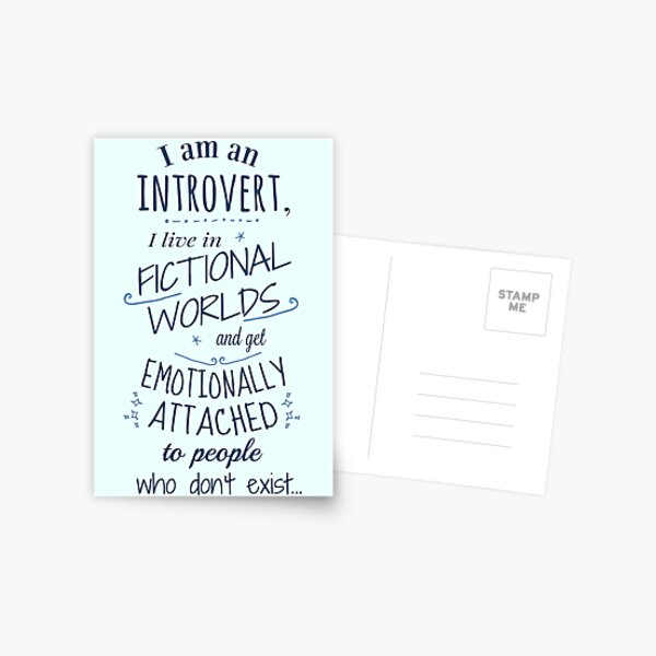 introvert, fictional worlds, fictional characters Postcard