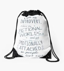 introvert, fictional worlds, fictional characters Drawstring Bag