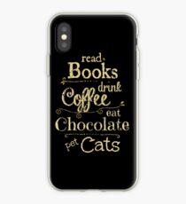 Vinilo o funda para iPhone leer libros, tomar café, comer chocolate, gatos domésticos