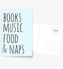 books, music, food & naps Postcards