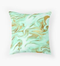 Luxurious Mint Marble 5 Throw Pillow