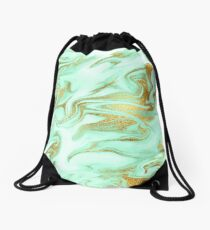 Luxurious Mint Marble 5 Drawstring Bag