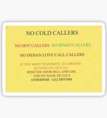 no cold callers Sticker